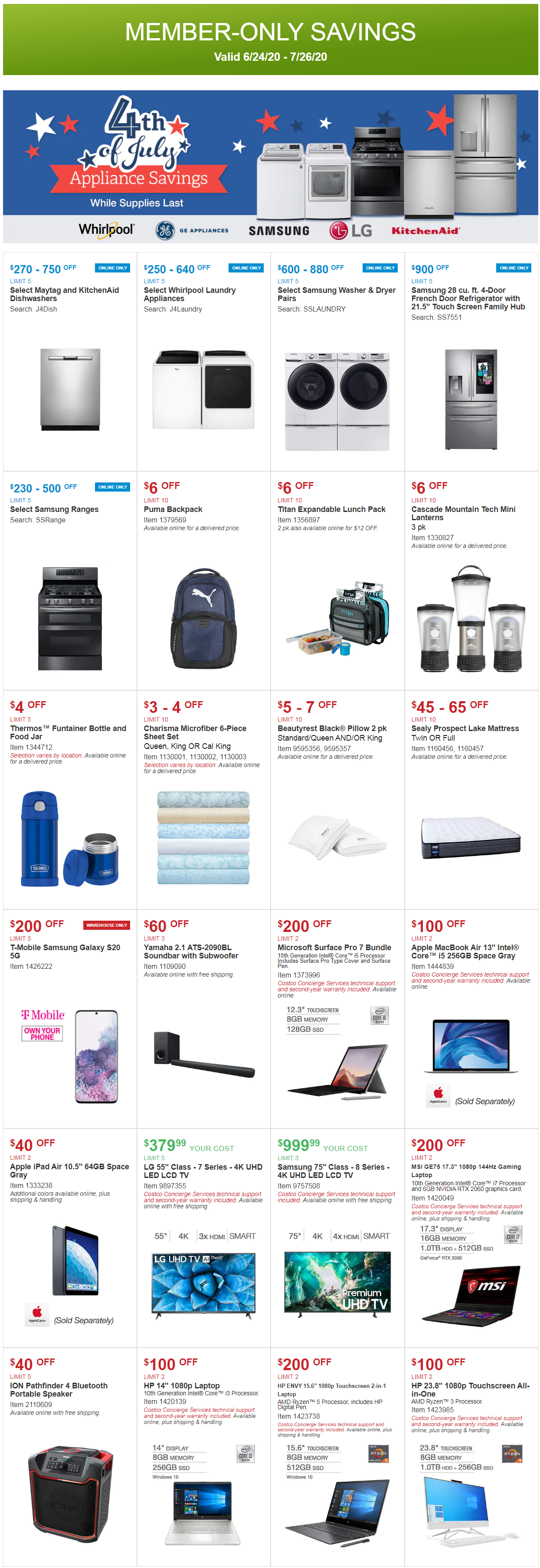 Costco Coupon Offers June 24 - July 26, 2020